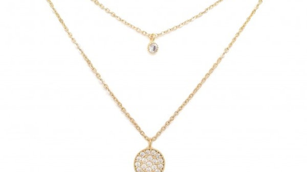Double Chain Necklace with CZ Pave Circle & CZ Stud