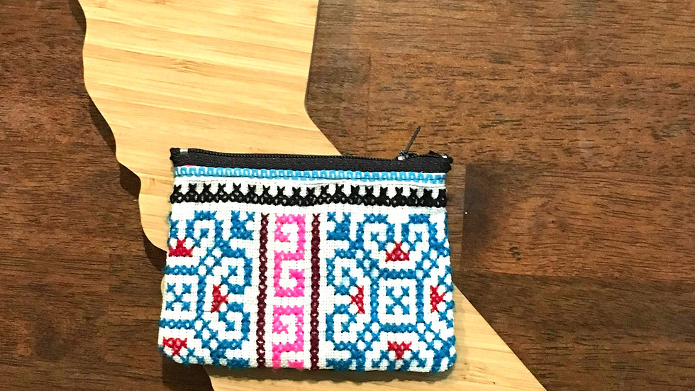 Blue and Pink Handmade Woven Fabric Coin Purse