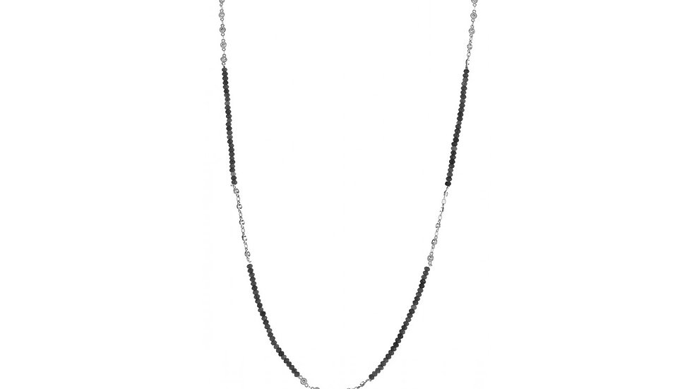 Grey Quartz Necklace with Cubic Zirconia Stations