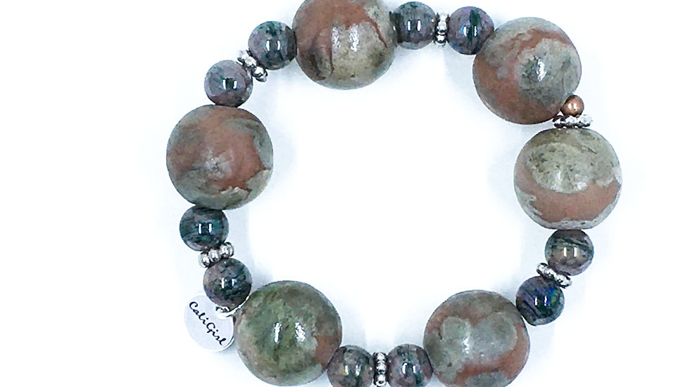 Green and Orange Marble Stretch Bracelet