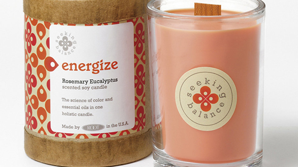 SEEKING BALANCE® ENERGIZE 6.5 OZ ORIGINAL SPA CANDLE ROSEMARY EUCALYPTUS