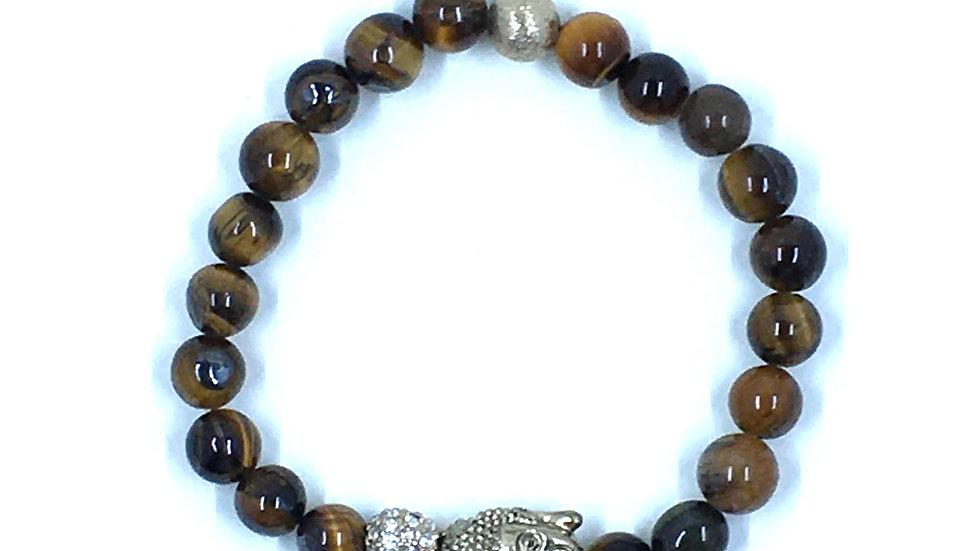 Buddha and Tigers Eye Stretch Bracelet