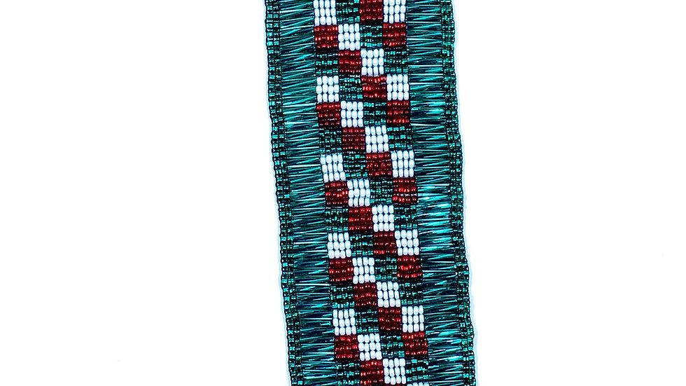 Loom Bracelet Green White and Red