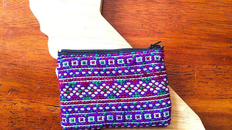 Purple Handmade Woven Fabric Coin Purse