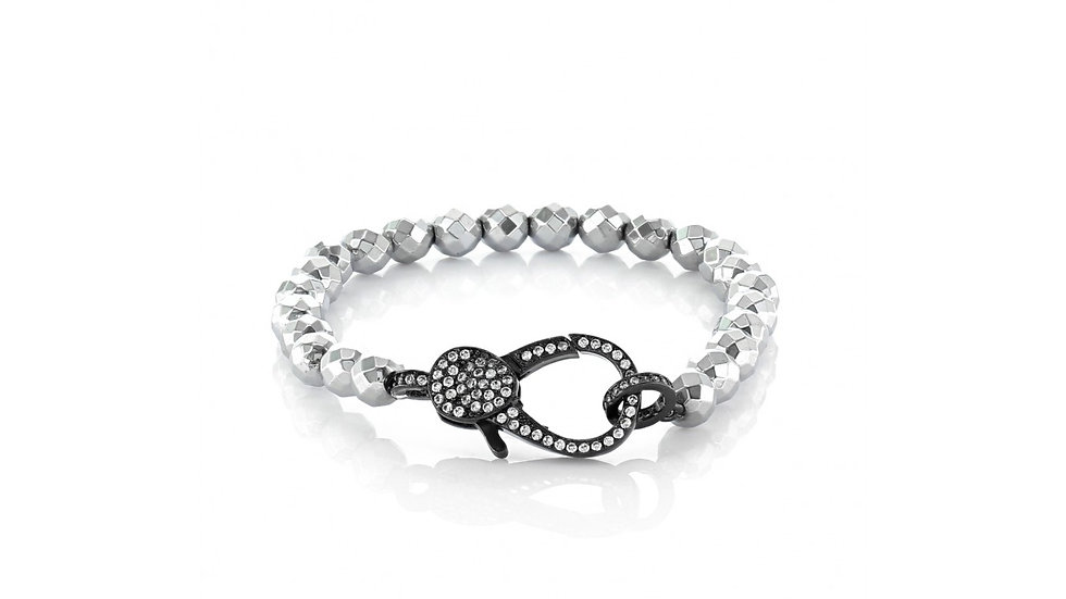 Metallic Silver Colored Faceted Hematite Beaded Bracelet with Medium Hematite Pa