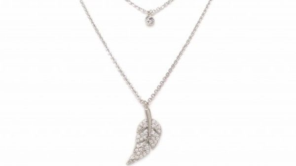 Pave Stud and Leaf Charm Necklace
