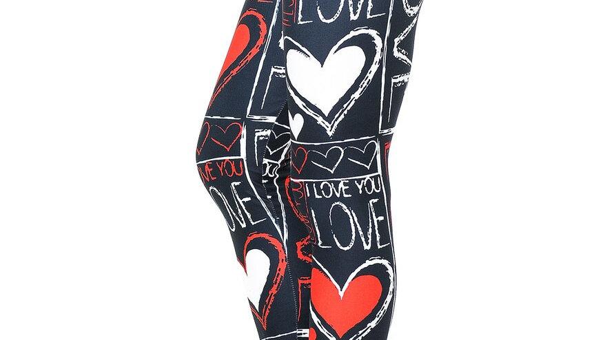CREAMY SOFT HEART AND LOVE LEGGINGS