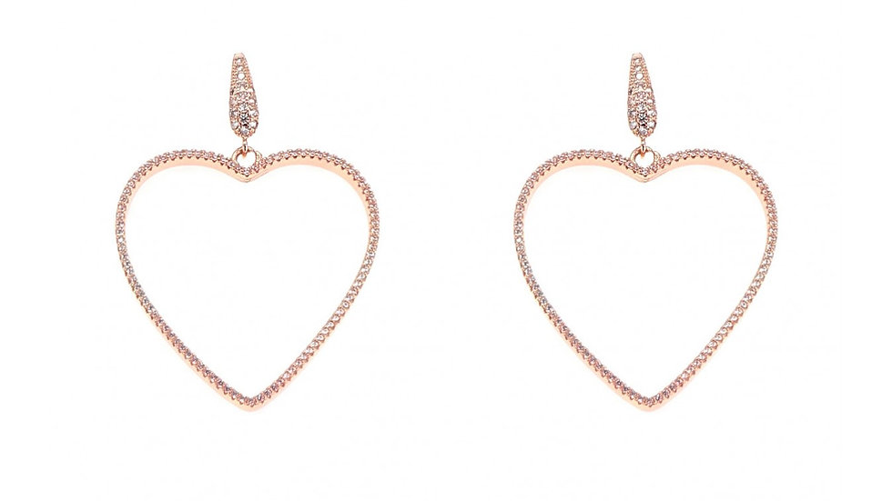 Rose Gold Colored Pavé Simulated White Diamonds Heart Earrings