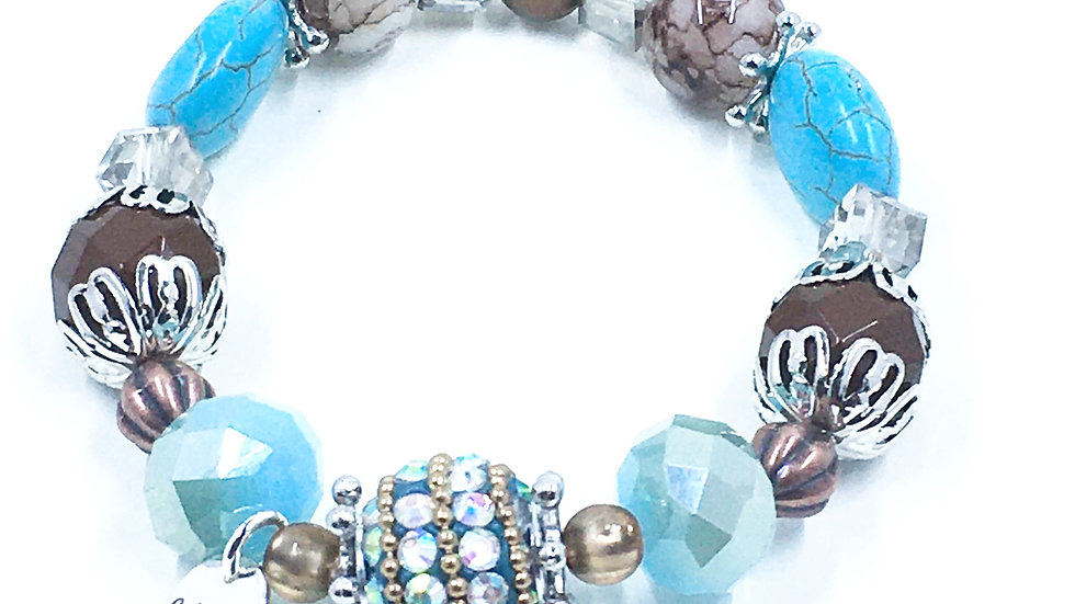 Turquoise Sparkle Stretch Boho Bracelet