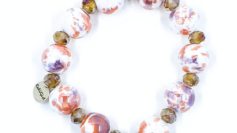 Coral Marble Stretch Bracelet