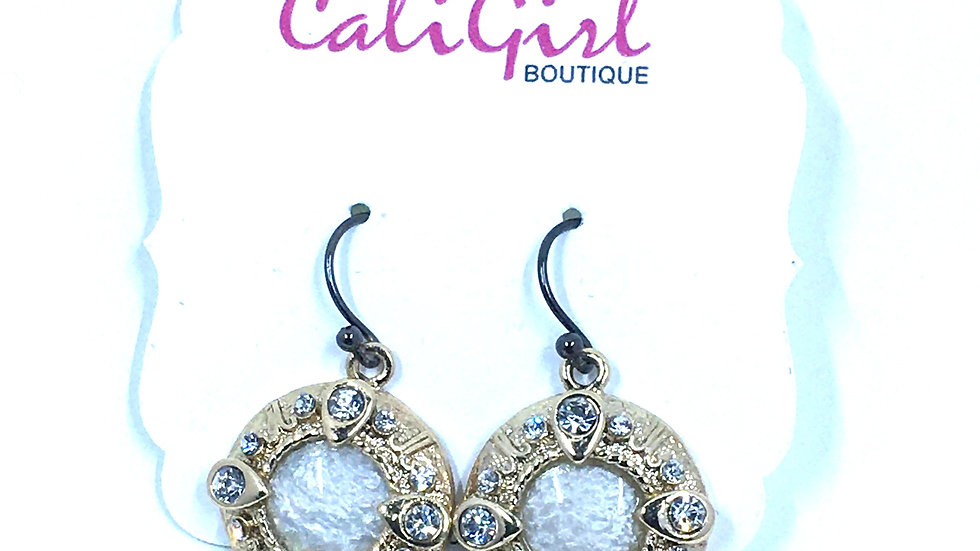 Antique Pearl and Gold Circle Dangle Earring