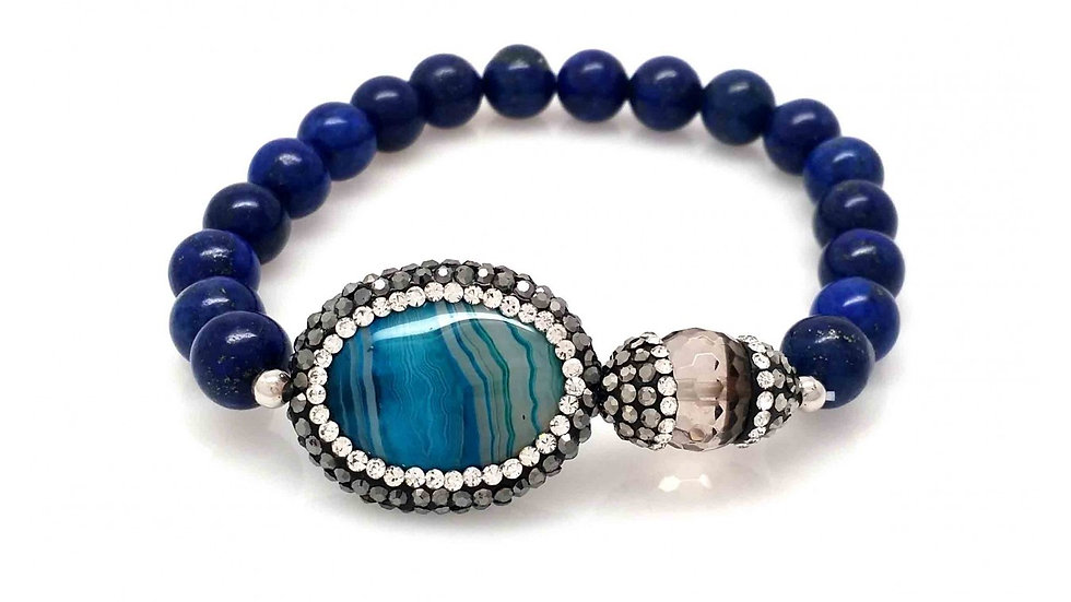 Royal Blue Agate with Crystallized Capped Grey Stone
