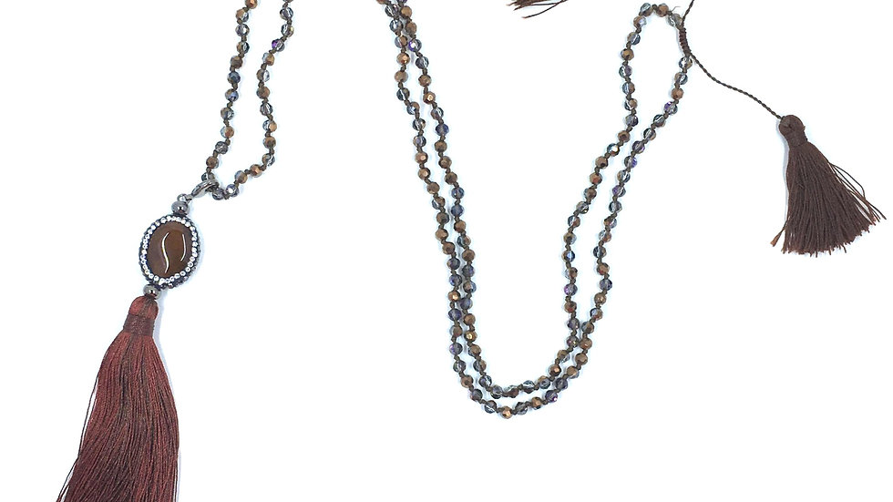 Brown Agate Tassel Necklace