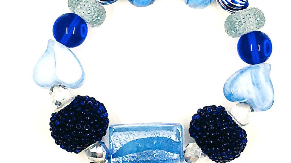 Ice Blue Heart Stretch Bracelet