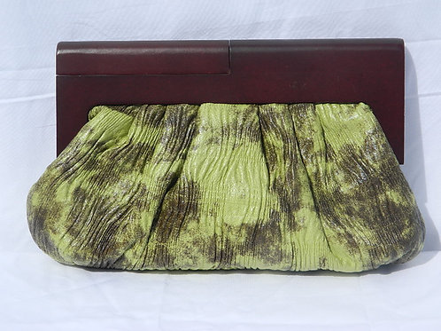 Vegan Texture and Wood Clutch