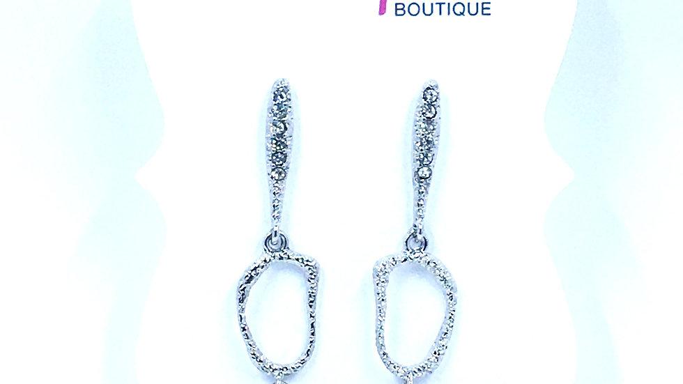 Textured Double Oval Dangle Earrings