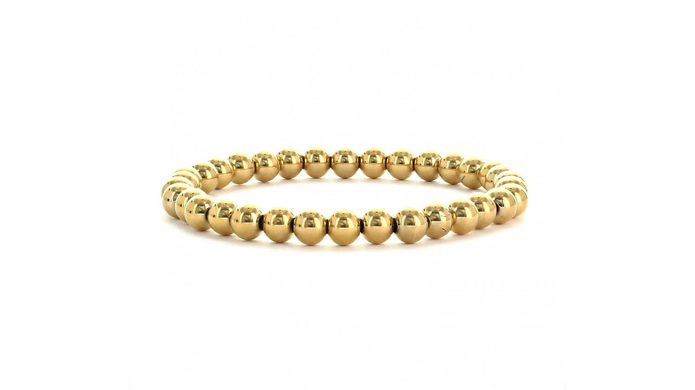 Plain Stainless Steel Beaded Stretch Bracelet