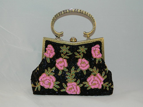Multi Pink Rose Beaded Purse