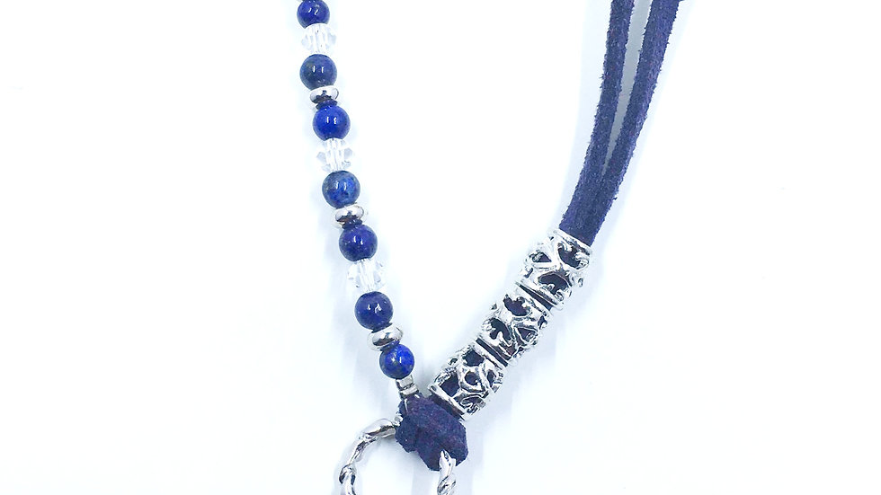 Blue Leather Cord Necklace with Leaf Pendant