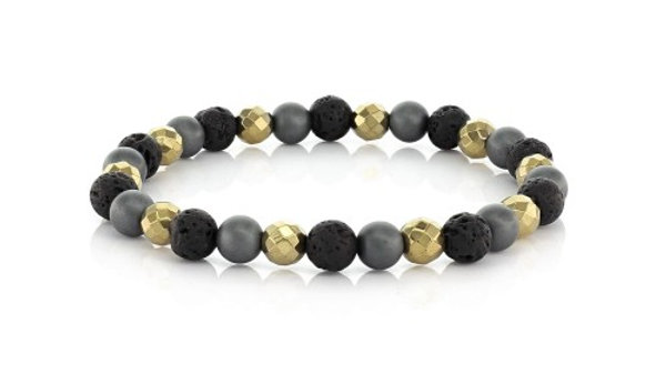 Black Lava and Hematite Beaded Stretch Bracelet