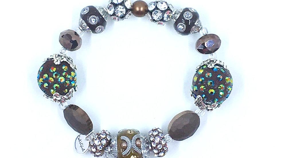 Brown Bling Boho Handmade Stretch Bracelet