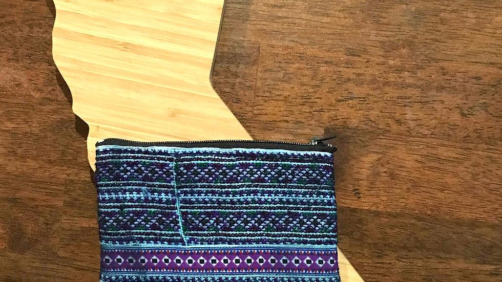 Blue Handmade Woven Fabric Coin Purse