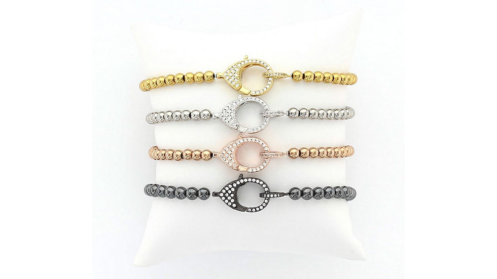 Stainless Steel Beaded Bracelet with Medium Pavé CZ Clasp
