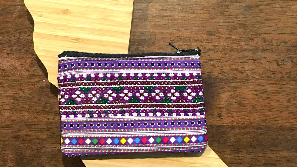 Purple Handmade Woven and Canvas Fabric Coin Purse