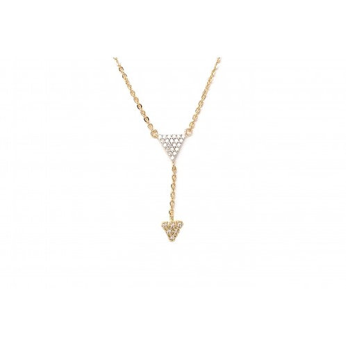 Pave Double Triangle Necklace