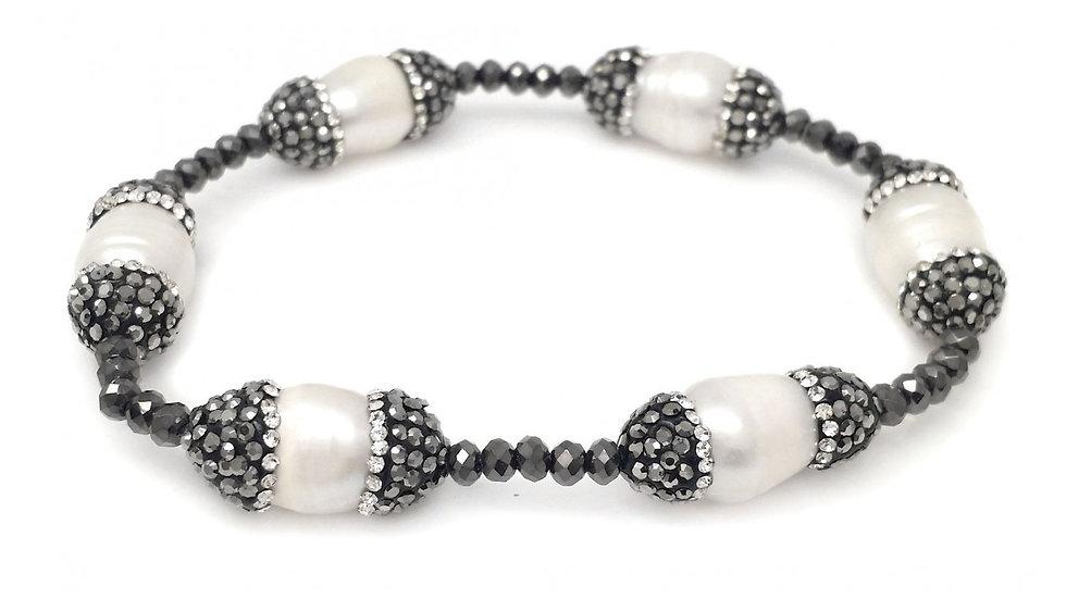 Dark Grey Metallic Stretch Bracelet with Hematite Crystallized Capped Pearl