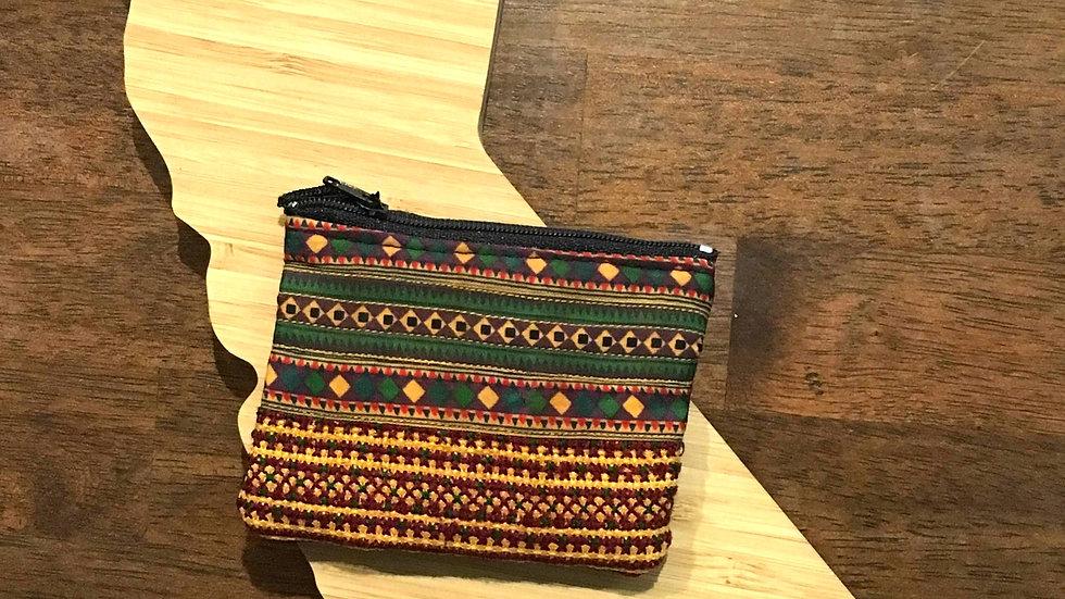 Orange and Green Woven Handmade Fabric Coin Purse