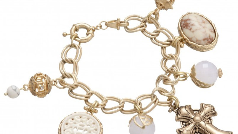 White Cross Charm Bracelet