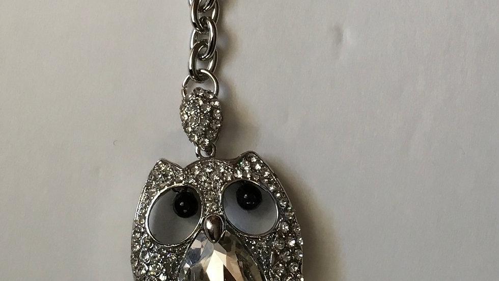 Silver Owl  Rhinestone Purse Key Charm