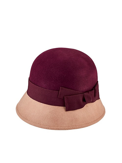 WOOL COLOR BLOCK CLOCHE WITH TRIM