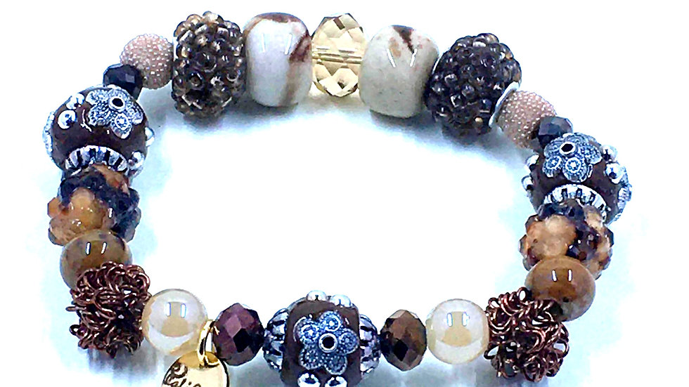 Mocha Boho Handmade Stretch Bracelet