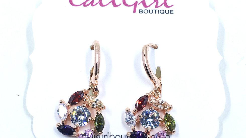 Multi Color Stone Dangle Earrings