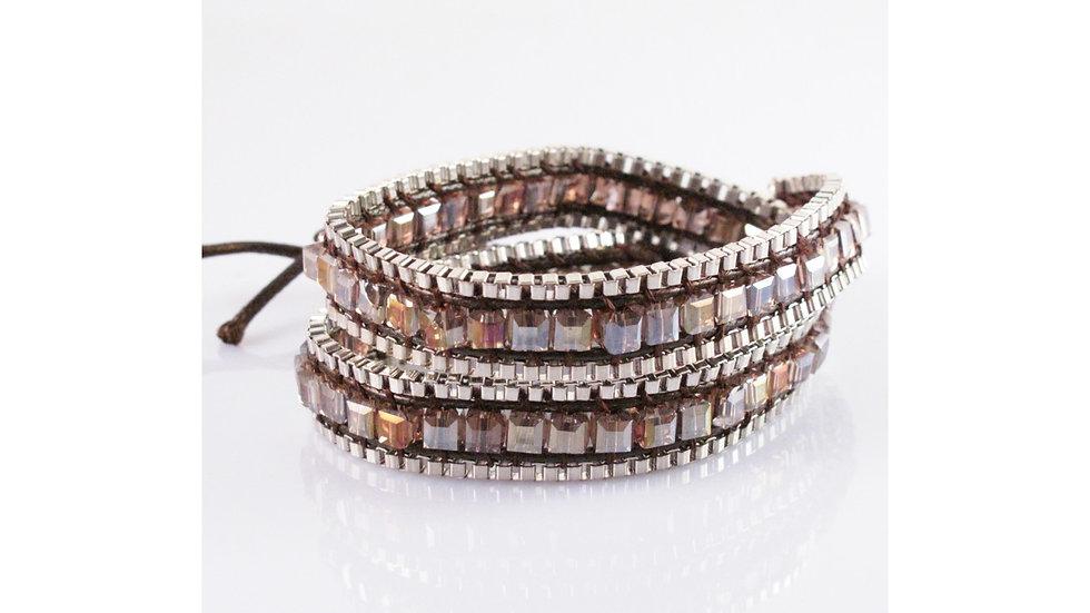 Wrap Around Iridescent Crystal Beads Bracelet