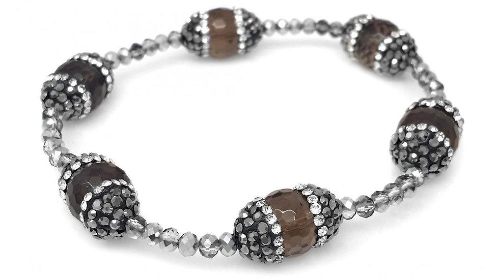 Dark Grey Metallic BeadedStretch Bracelet with  Hematite Capped Brown Agate