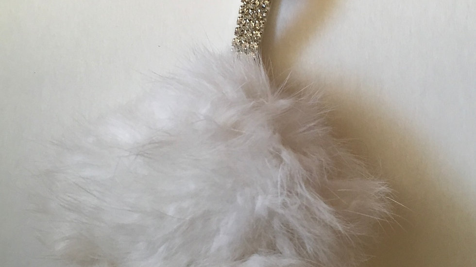 Rhinestone Strap Faux Fur Pom Pom Bag Charm