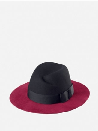 WOMENS FLOPPY WITH OFF CENTER PINCH, GROSGRAIN RIBBON BAND AND VELVET BRIM