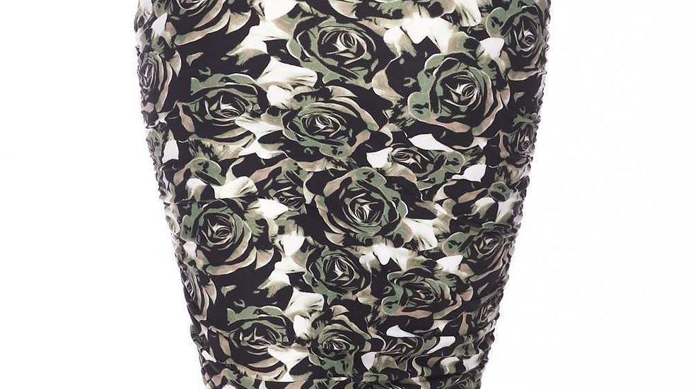BUTTERY SOFT OLIVE ROSE PENCIL SKIRT