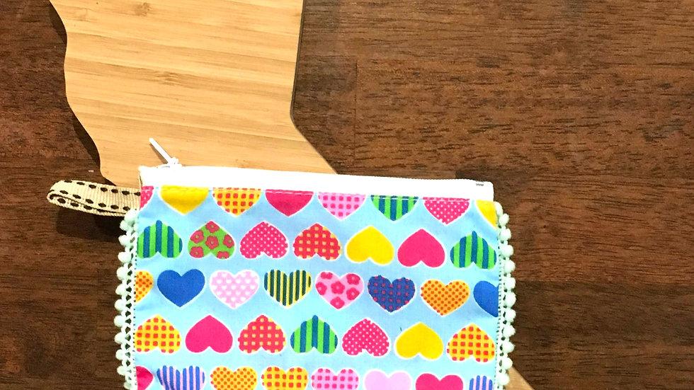 Multi Color Heart Handmade Fabric Coin Purse