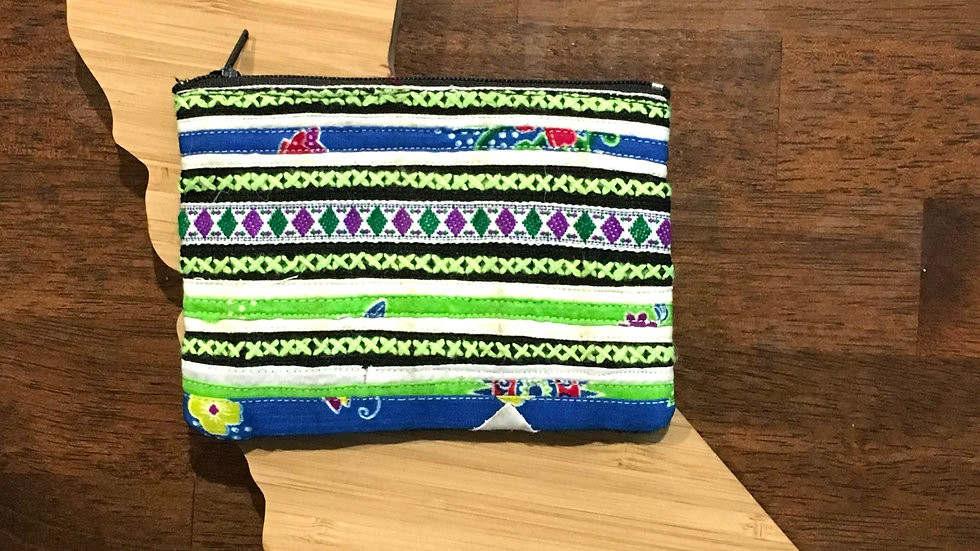 Green and Blue Handmade Woven Fabric Coin Purse