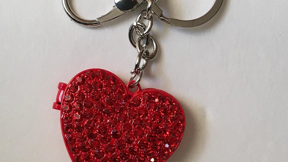Red Heart  Rhinestone Purse Key Charm
