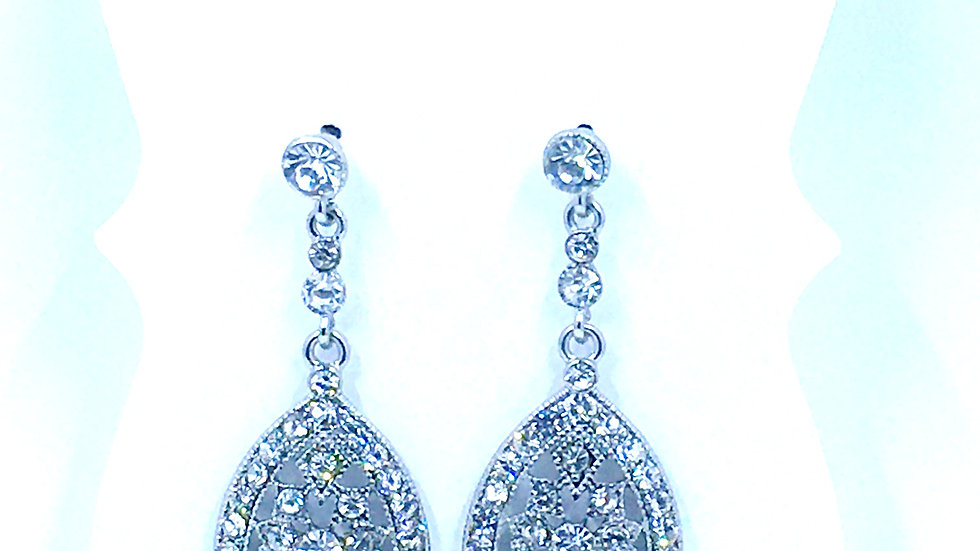 Silver Vintage Crystal Tear Drop Dangle Earrings