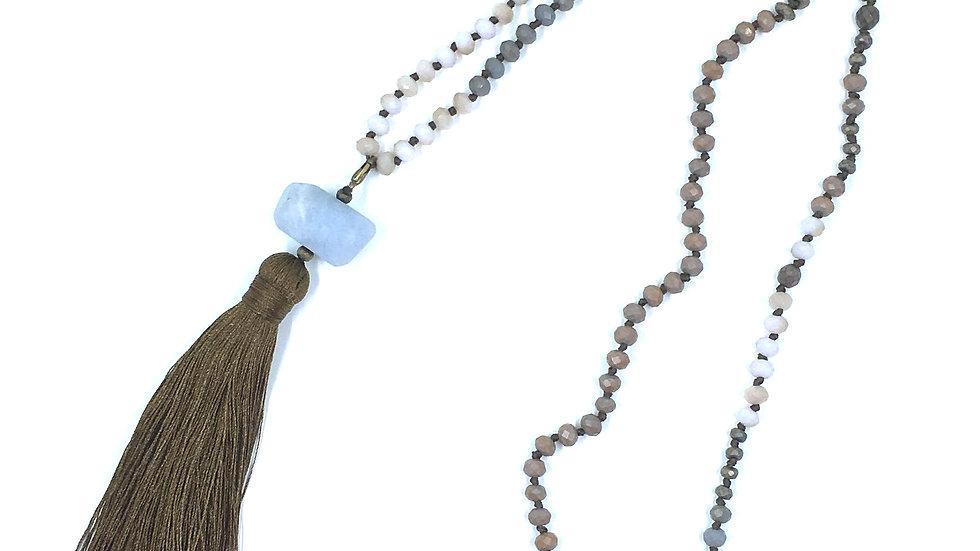 Labradorite and Hematite Tassel Necklace