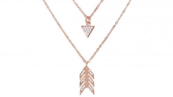 Pave Tri-Arrow Charm Necklace