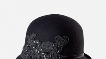 WOMENS WOMENS WOOL FELT CLOCHE WITH LACE APPLIQUE