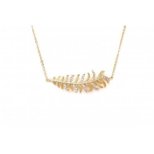 Pave Leaf Charm Necklace