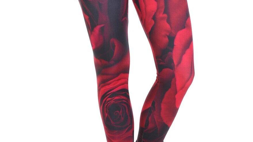 CREAMY SOFT JUMBO RED ROSE LEGGINGS